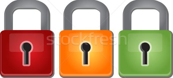 красный желтый зеленый безопасности блокировка Сток-фото © kgtoh