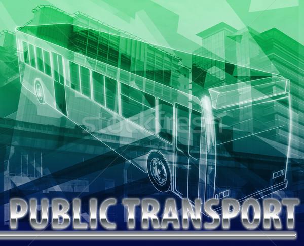 Transporte público abstrato ilustração digital digital colagem ilustração Foto stock © kgtoh