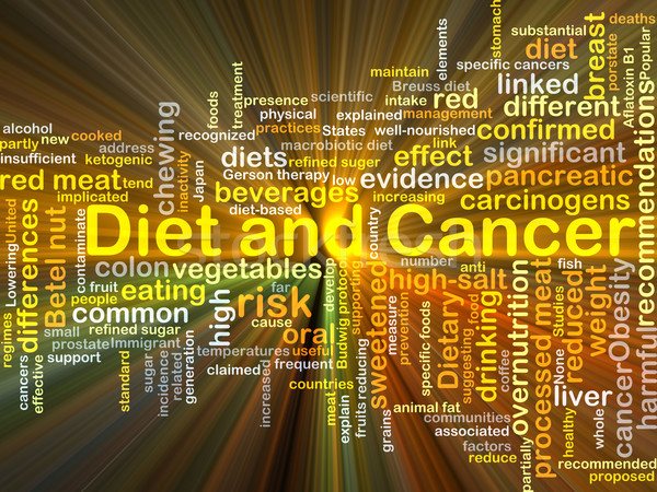 Diet and cancer background concept glowing Stock photo © kgtoh