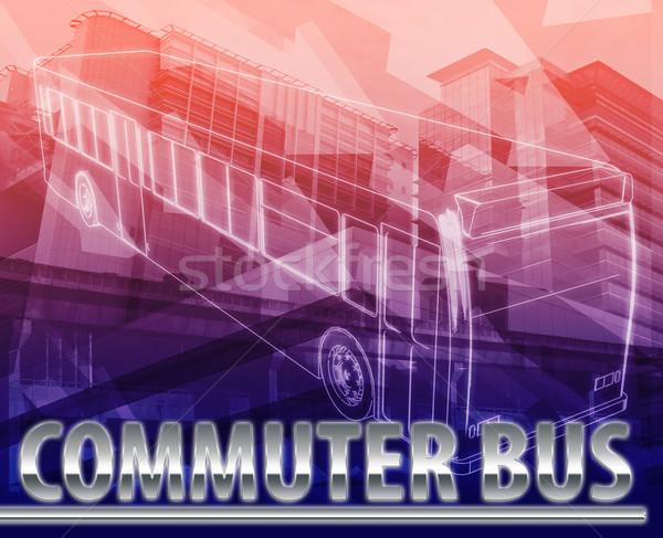 Viajante habitual ônibus abstrato ilustração digital digital colagem Foto stock © kgtoh