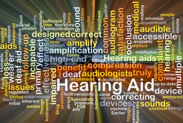 Hallókészülék izzó szófelhő illusztráció fény háttér Stock fotó © kgtoh