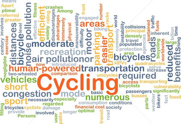 Biciklizik háttér szófelhő illusztráció sport terv Stock fotó © kgtoh