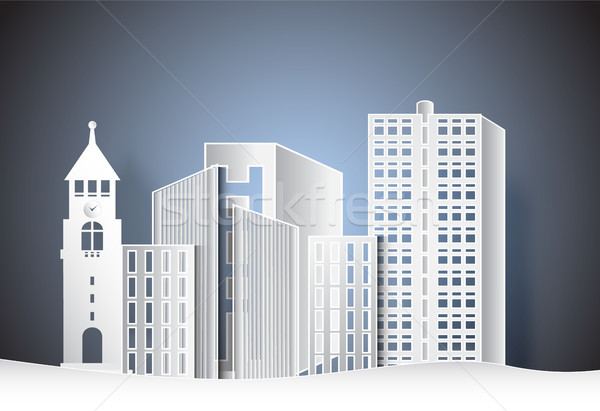 Building office in the city,  paper art style illustration. Stock photo © Kheat