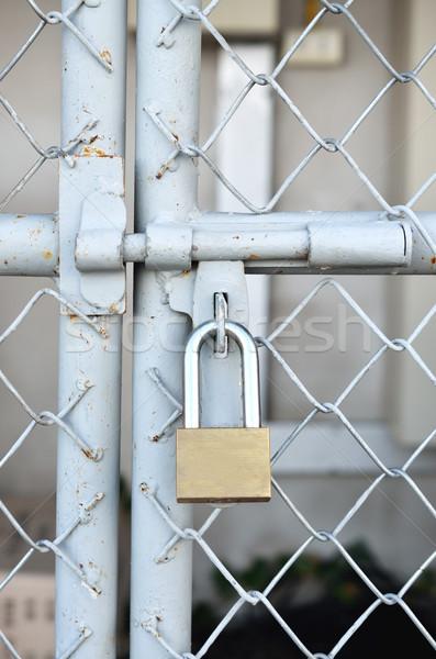 латунь замок металл двери стены безопасности Сток-фото © Kheat