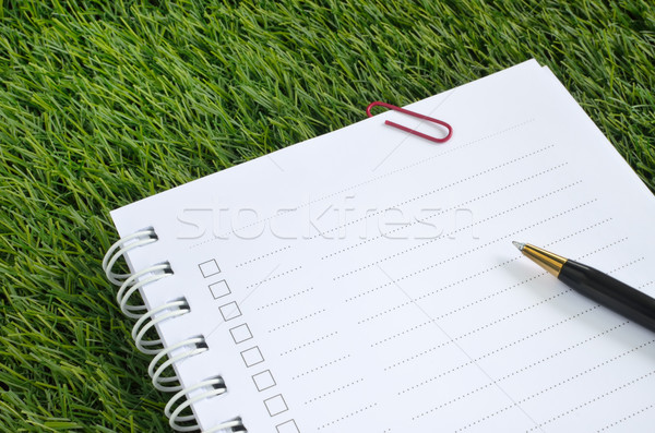 Notebook pen kunstgras papier boek studie Stockfoto © Kheat