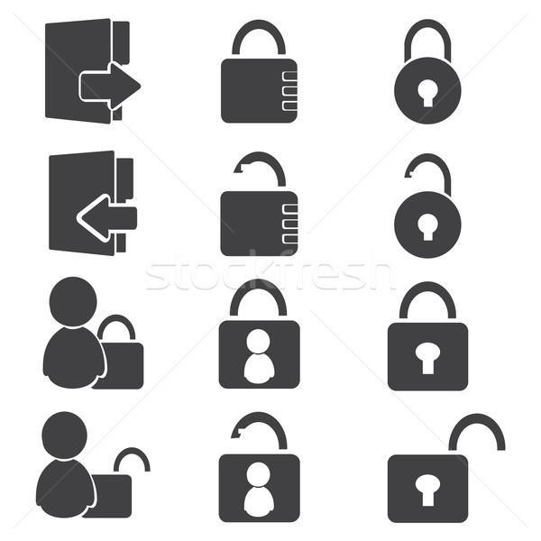 Login bianco nero avatar segno chiave Foto d'archivio © Kheat