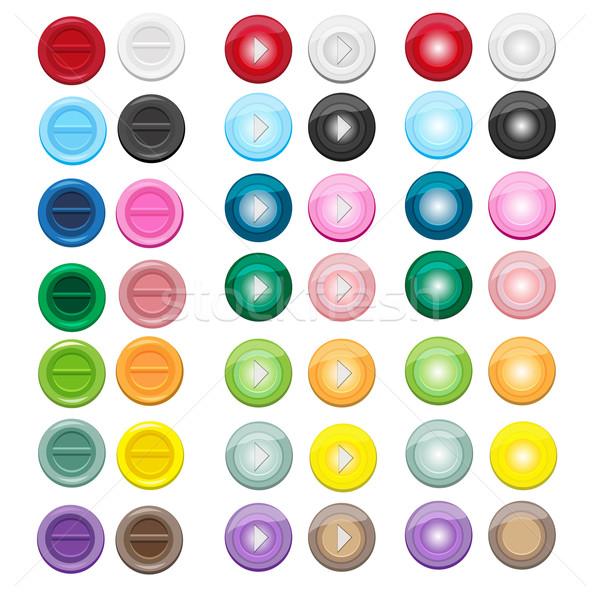 14 色 セット アイコン サークル スタイル ストックフォト © Kheat