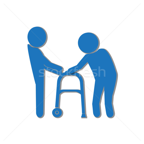 Man helps elderly patient with a walker illustration Stock photo © Kheat