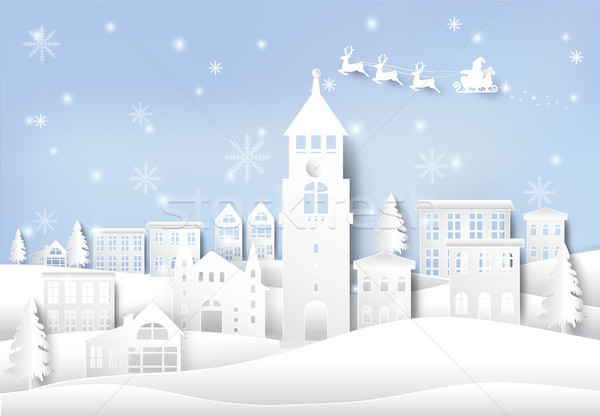 冬 休日 サンタクロース スノーフレーク 市 町 ストックフォト © Kheat