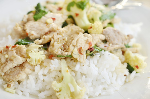 stir fried pork with chillies basil leaves and steam rice Stock photo © Kheat