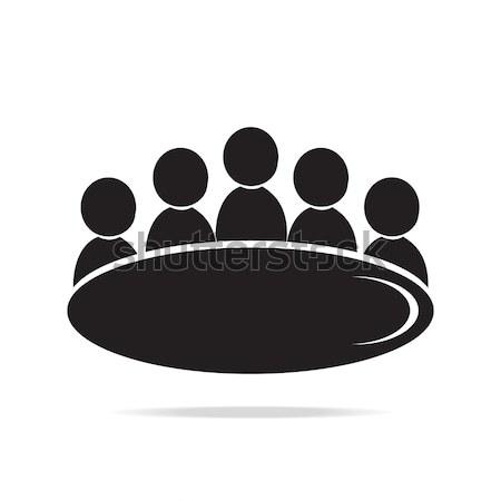 Megbeszélés üzlet ikon emberek szimbólum felirat Stock fotó © Kheat