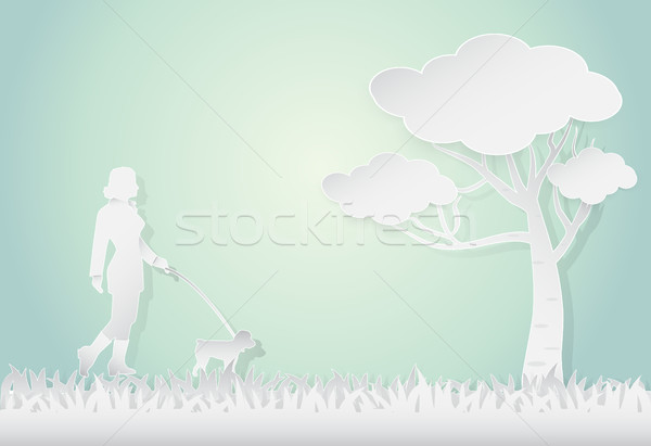 Young woman walking with poodle dog, landscape background Stock photo © Kheat
