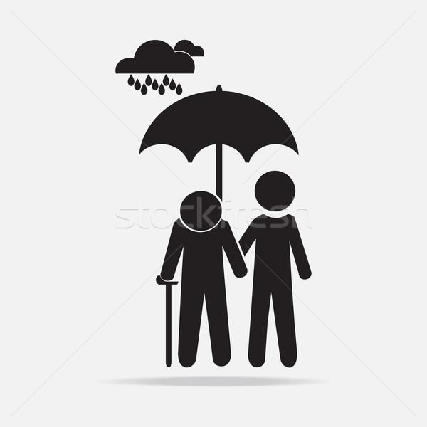 Man holding umbrella with elderly in the rain illustration Stock photo © Kheat