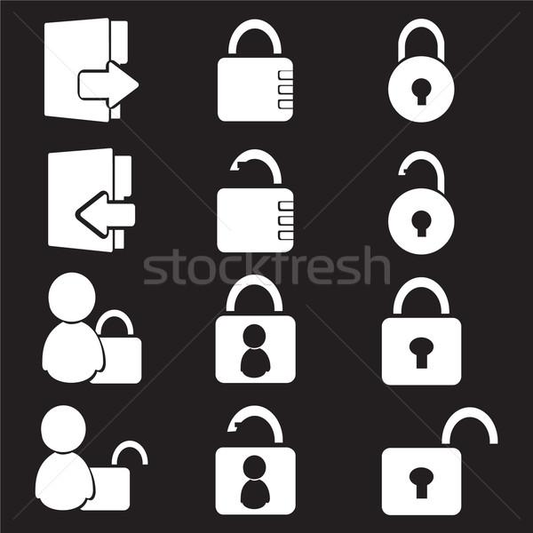 Login icon set Stock photo © Kheat