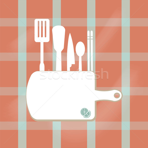 Konyhai felszerelés felirat főzés könyv oldal illusztráció Stock fotó © Kheat