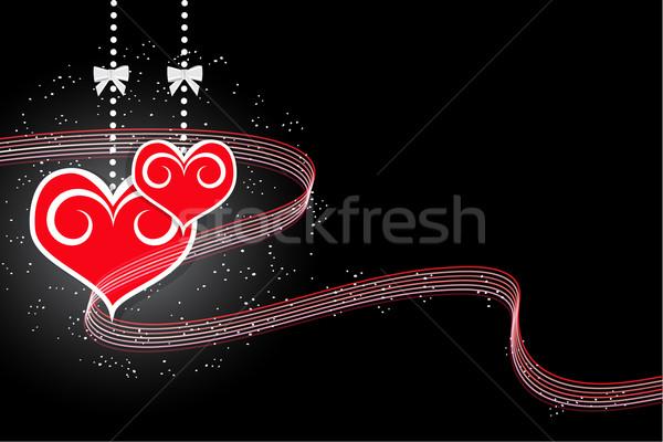 Valentin nap piros szívek fekete illusztráció absztrakt Stock fotó © Kheat