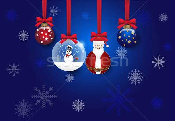 Karácsony labda dekoráció kék vektor égbolt Stock fotó © Kheat