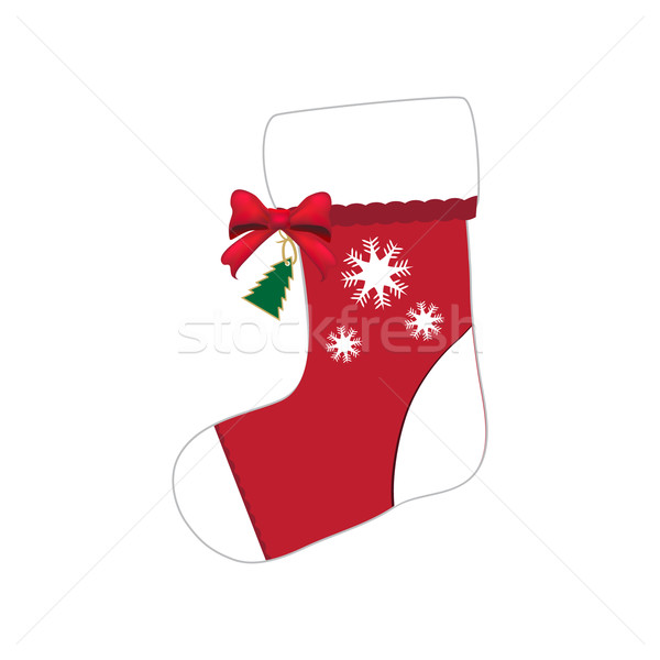 Christmas sock with red bow illustration Stock photo © Kheat