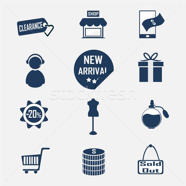 ショッピング 商業 アイコン 青 ショップ ストックフォト © Kheat