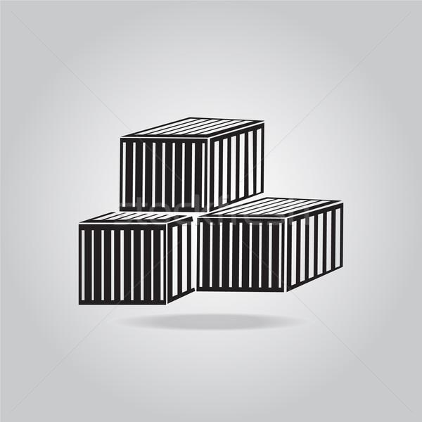 Raktár dobozok ikon felirat raktár szerszám Stock fotó © Kheat
