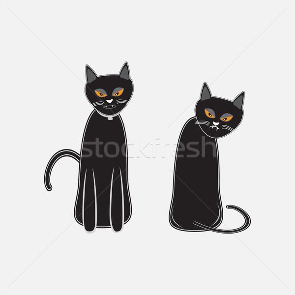 Fekete macska halloween szimbólum illusztráció macska művészet Stock fotó © Kheat
