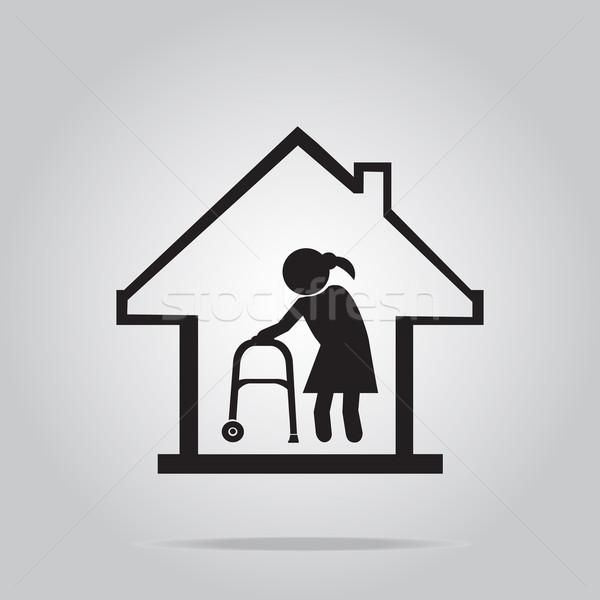ストックフォト: 老人ホーム · シンボル · アイコン · 実例 · 健康 · 徒歩