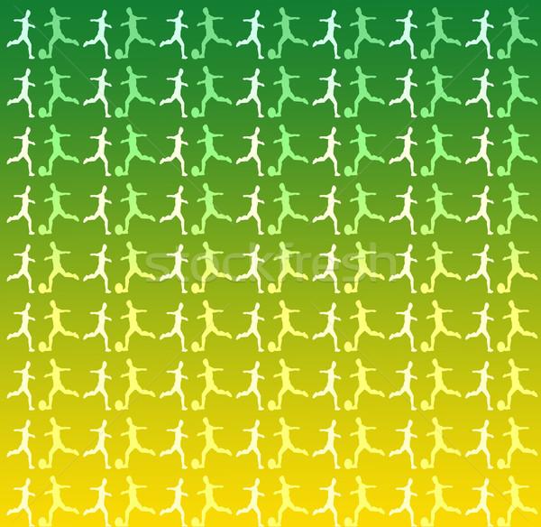 Futballista sziluettek zöld citromsárga futball sport Stock fotó © Kheat