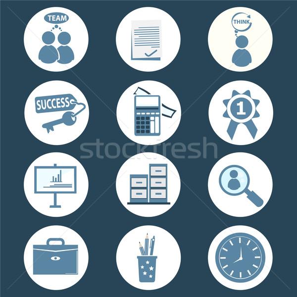 Escritório negócio ícone relógio laptop Foto stock © Kheat