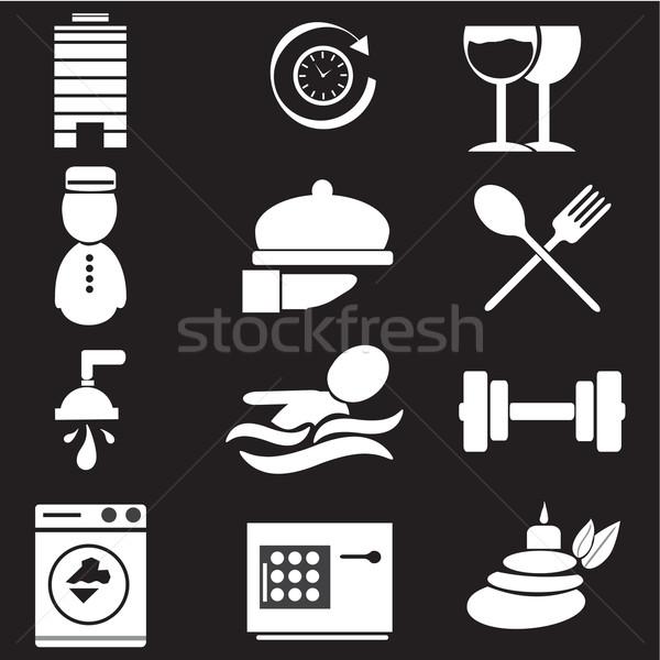 Hotel ikonok fitnessz felirat utazás idő Stock fotó © Kheat