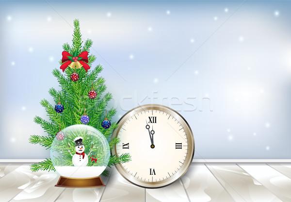 Karácsonyfa hó földgömb fából készült ünnep tél Stock fotó © Kheat