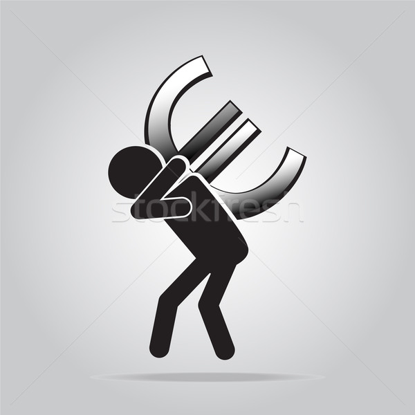 Man carrying with a money sign, pictogram illustration Stock photo © Kheat