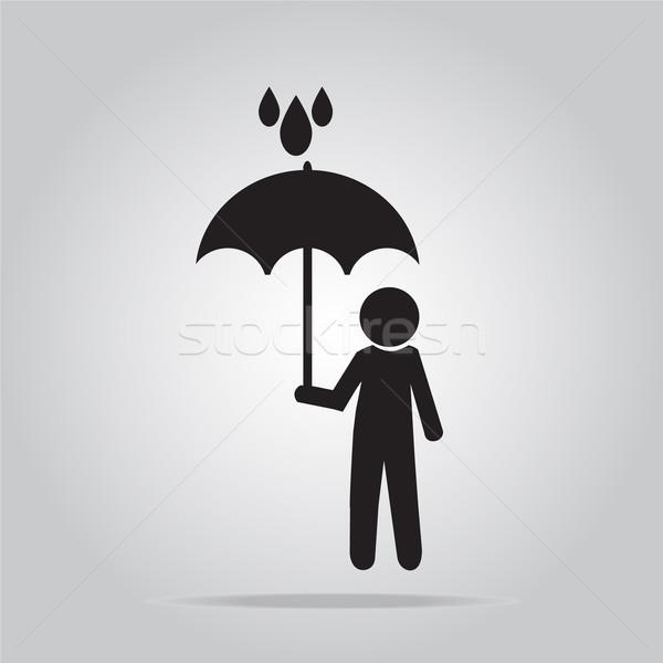 Férfi tart esernyő eső illusztráció felirat Stock fotó © Kheat