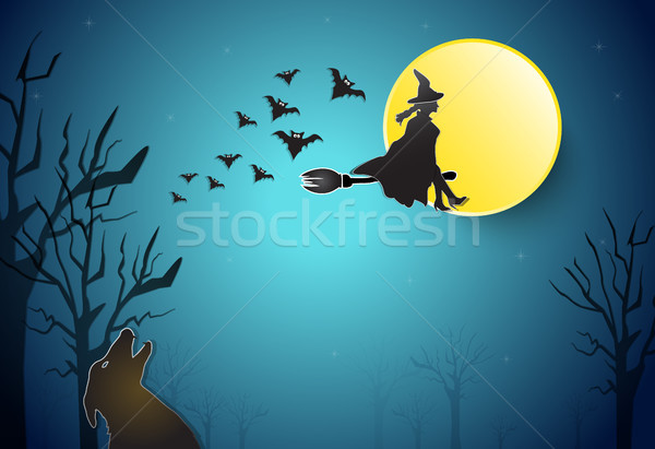 Young witch flying with wolf Halloween background Stock photo © Kheat