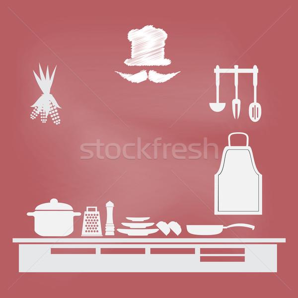 Konyhai felszerelés felirat főzés könyv oldal étel Stock fotó © Kheat