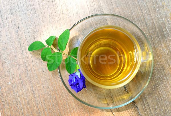 Csésze tea fa lila virág virág egészség Stock fotó © Kheat