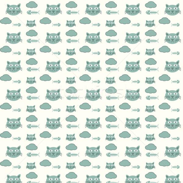 seamless vector pattern cats and fishbones Stock photo © Kheat