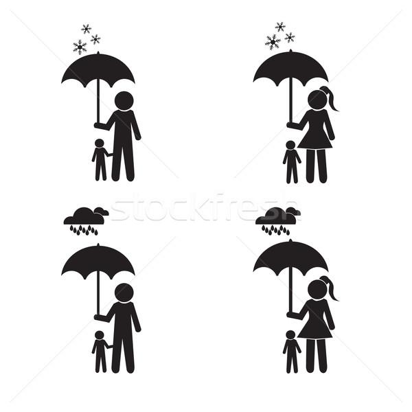 Person holding umbrella and child illustration Stock photo © Kheat