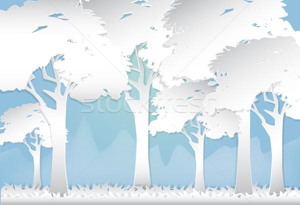 Erdő domb absztrakt természet papír művészet Stock fotó © Kheat