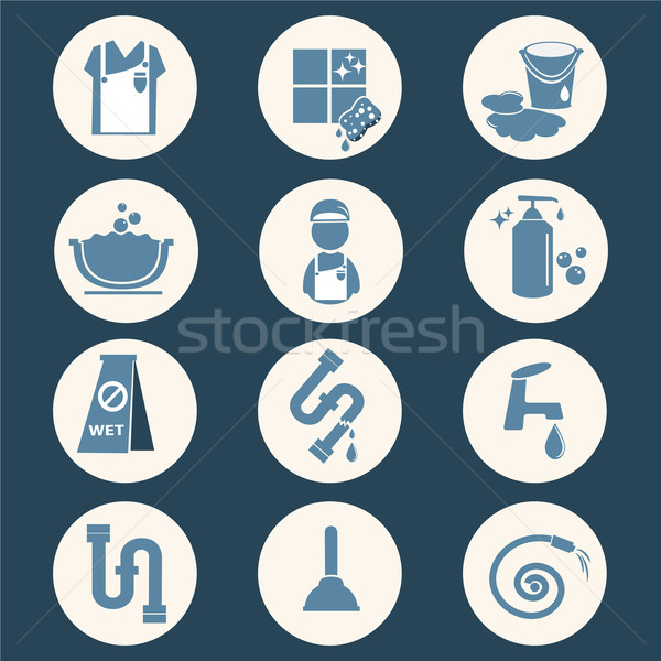cleaning icon set Stock photo © Kheat