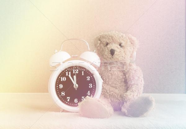 ébresztőóra plüssmaci gradiens szín baba születésnap Stock fotó © Kheat