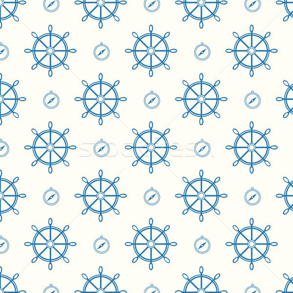 ベクトル 船 ホイール コンパス テクスチャ ストックフォト © Kheat