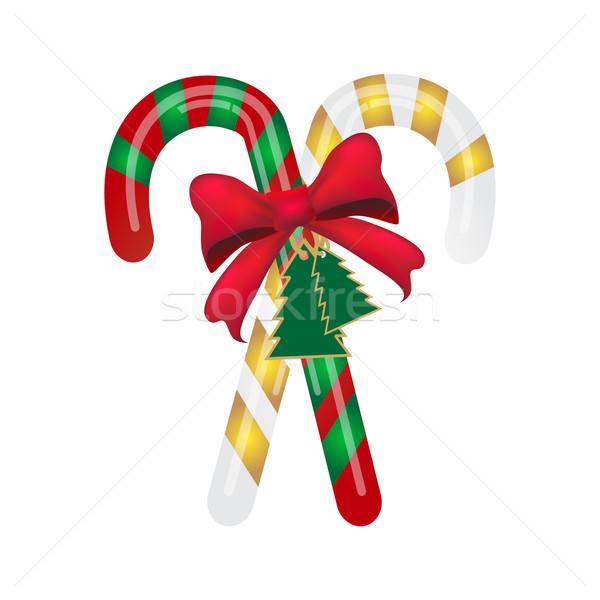 Karácsony cukorka sétapálca piros íj étel Stock fotó © Kheat