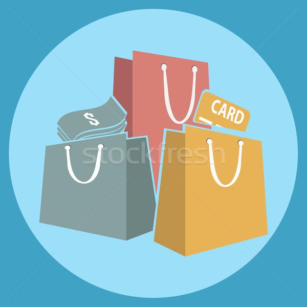 ショッピングバッグ アイコン 背景 青 袋 ストア ストックフォト © Kheat