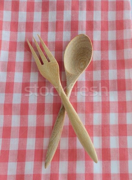 wooden spoon on checkered tablecloth Stock photo © Kheat