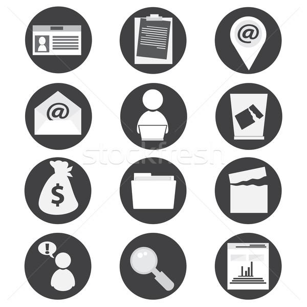 Iroda üzlet ikonok laptop üzletember kapcsolat Stock fotó © Kheat