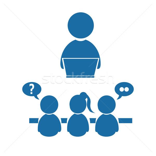Megbeszélés üzlet ikon emberek szimbólum kék Stock fotó © Kheat