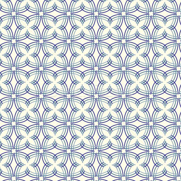 Photo stock: Vecteur · bleu · lignes · floral · résumé