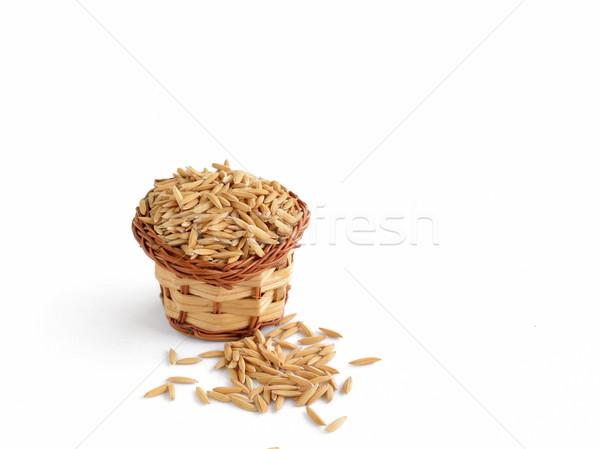 Rizs kosár izolált fehér étel Ázsia Stock fotó © Kheat