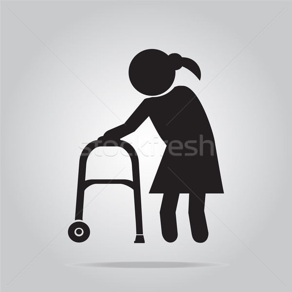 Elderly woman and walker symbol, icon illustration Stock photo © Kheat