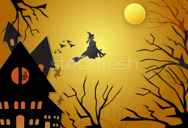 Young witch flying on broom with spooky silhouette Halloween background Stock photo © Kheat
